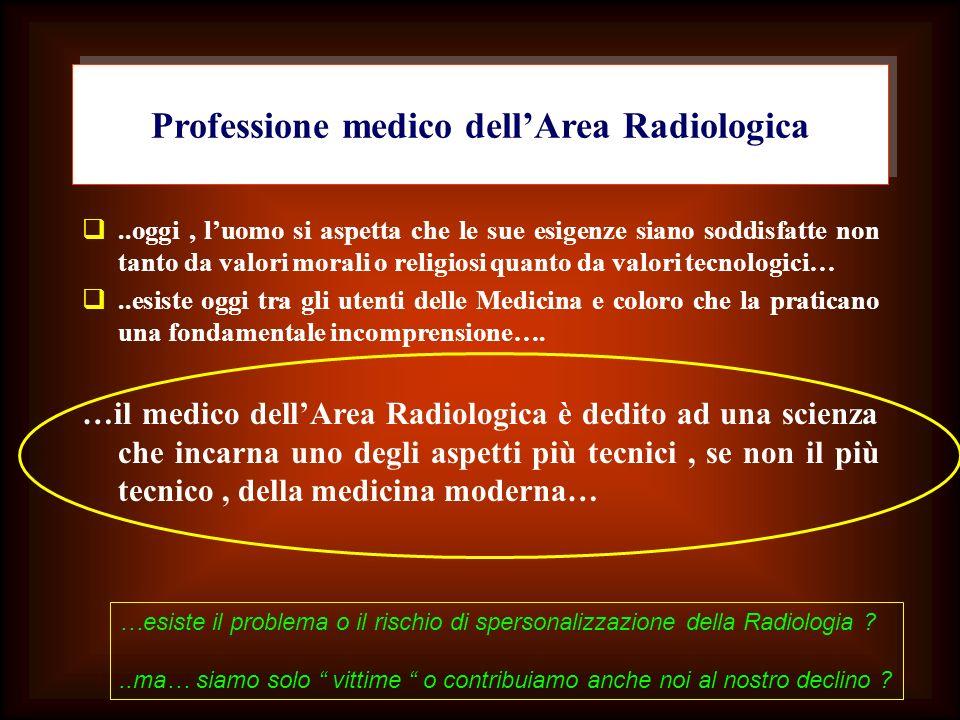 Professione medico dellArea Radiologica..oggi, luomo si aspetta che le sue esigenze siano soddisfatte non tanto da valori morali o religiosi quanto da