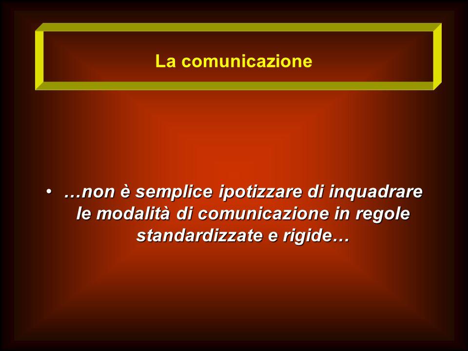 La comunicazione …non è semplice ipotizzare di inquadrare le modalità di comunicazione in regole standardizzate e rigide……non è semplice ipotizzare di