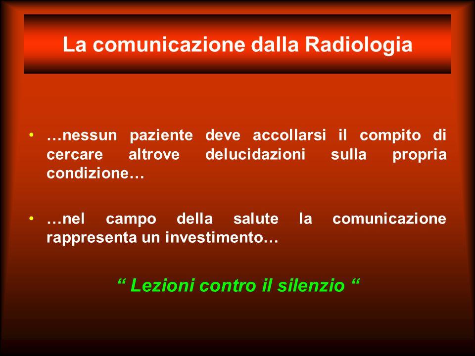 La comunicazione dalla Radiologia …nessun paziente deve accollarsi il compito di cercare altrove delucidazioni sulla propria condizione… …nel campo de