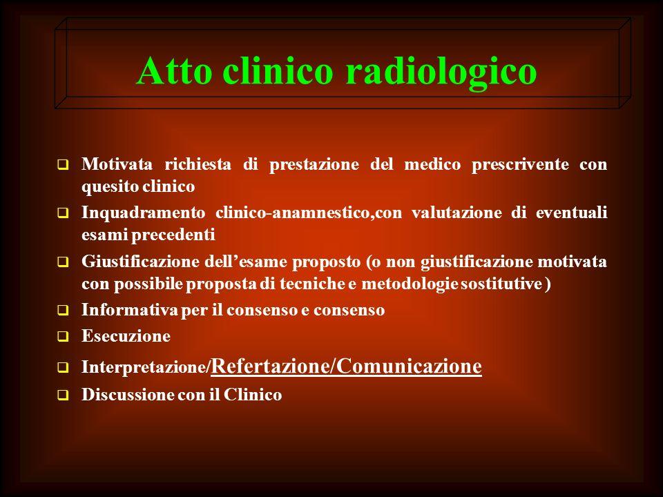 Atto clinico radiologico Motivata richiesta di prestazione del medico prescrivente con quesito clinico Inquadramento clinico-anamnestico,con valutazio