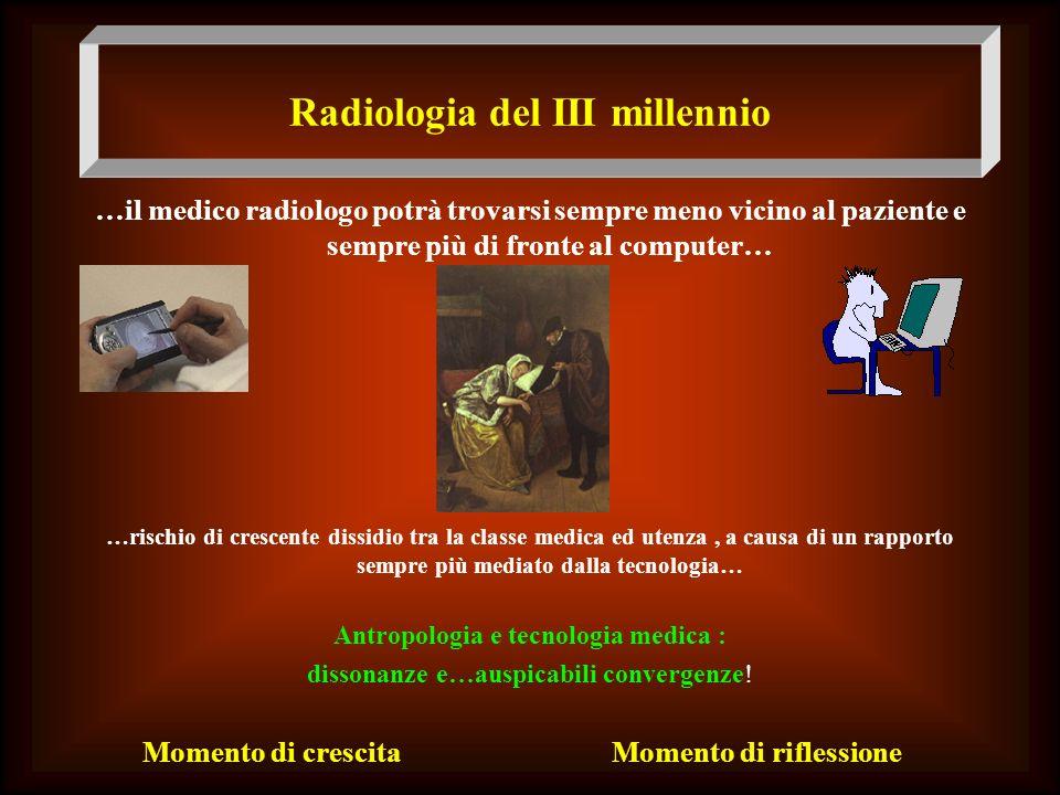 Radiologia del III millennio …il medico radiologo potrà trovarsi sempre meno vicino al paziente e sempre più di fronte al computer… … …rischio di cres