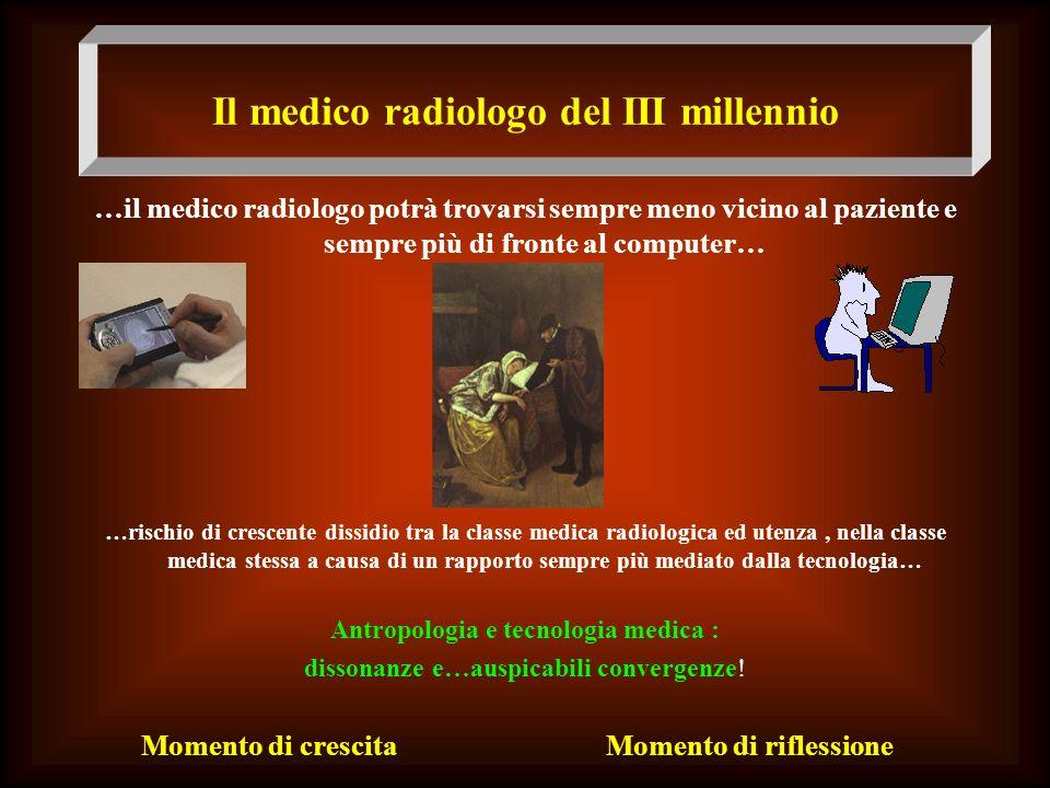Il medico radiologo del III millennio …il medico radiologo potrà trovarsi sempre meno vicino al paziente e sempre più di fronte al computer… … …rischi