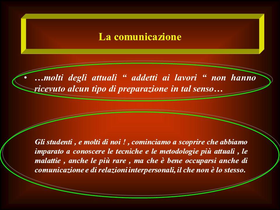 La comunicazione …molti degli attuali addetti ai lavori non hanno ricevuto alcun tipo di preparazione in tal senso… Gli studenti, e molti di noi !, co