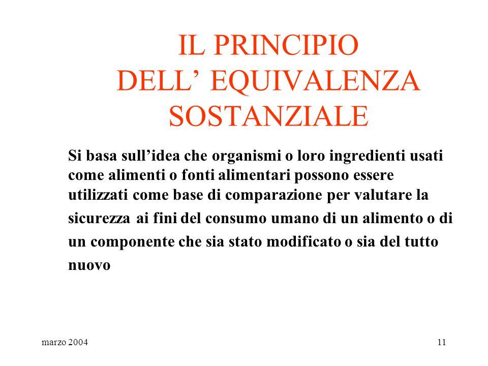 marzo 200411 IL PRINCIPIO DELL EQUIVALENZA SOSTANZIALE Si basa sullidea che organismi o loro ingredienti usati come alimenti o fonti alimentari posson