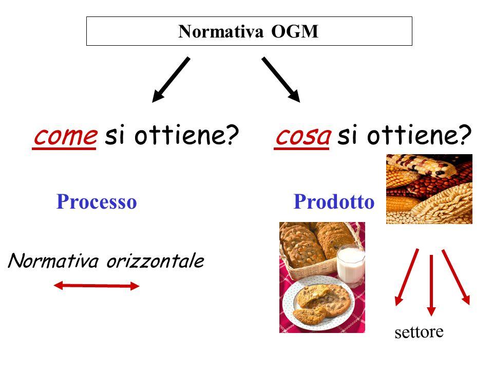 Normativa OGM come si ottiene? cosa si ottiene? ProcessoProdotto Normativa orizzontale settore