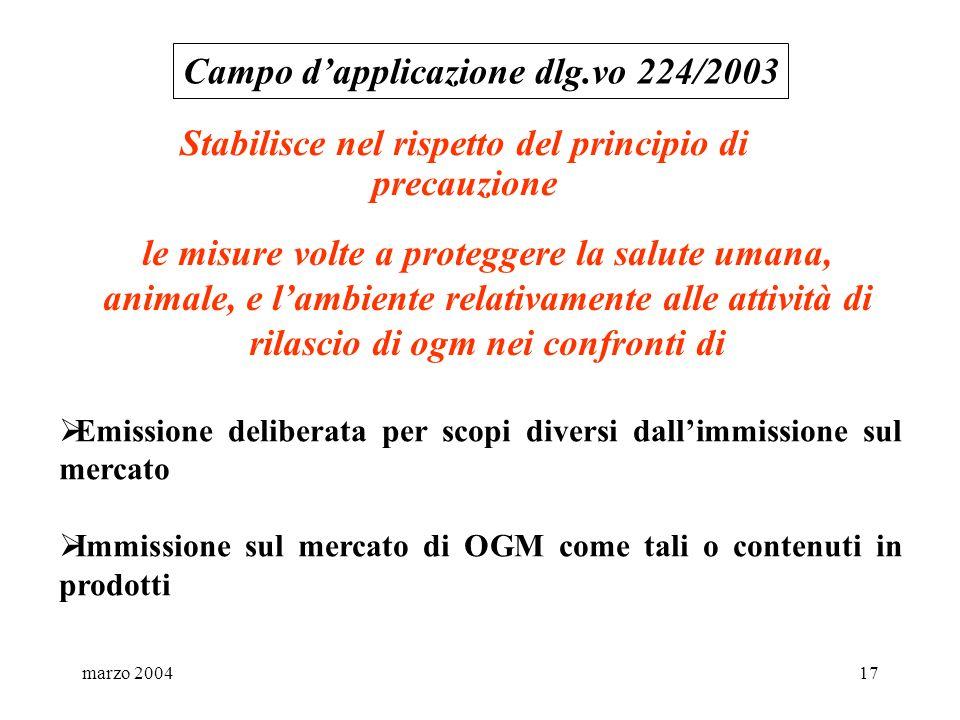 marzo 200417 Stabilisce nel rispetto del principio di precauzione Campo dapplicazione dlg.vo 224/2003 le misure volte a proteggere la salute umana, an