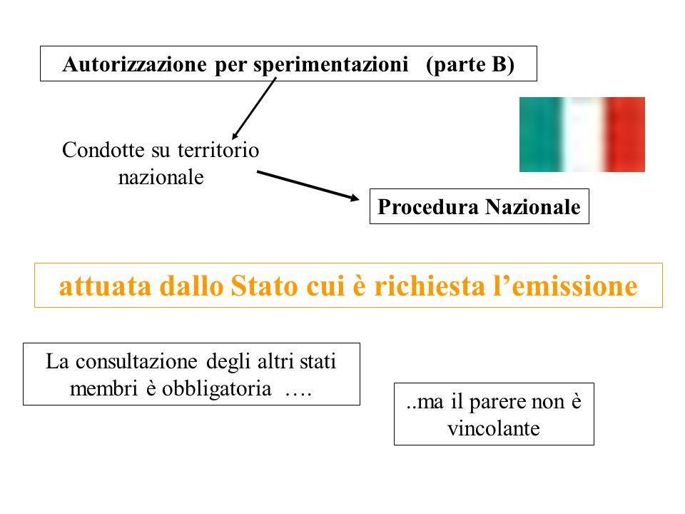 Autorizzazione per sperimentazioni (parte B)..ma il parere non è vincolante attuata dallo Stato cui è richiesta lemissione La consultazione degli altr