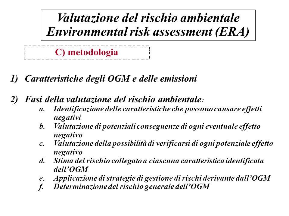 C) metodologia 1)Caratteristiche degli OGM e delle emissioni 2)Fasi della valutazione del rischio ambientale : a.Identificazione delle caratteristiche