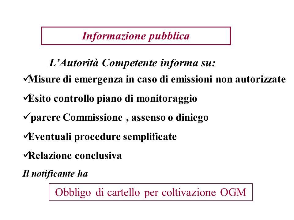Informazione pubblica Misure di emergenza in caso di emissioni non autorizzate Esito controllo piano di monitoraggio parere Commissione, assenso o din