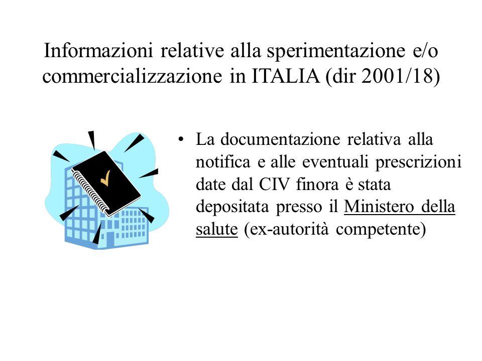 Informazioni relative alla sperimentazione e/o commercializzazione in ITALIA (dir 2001/18) La documentazione relativa alla notifica e alle eventuali p