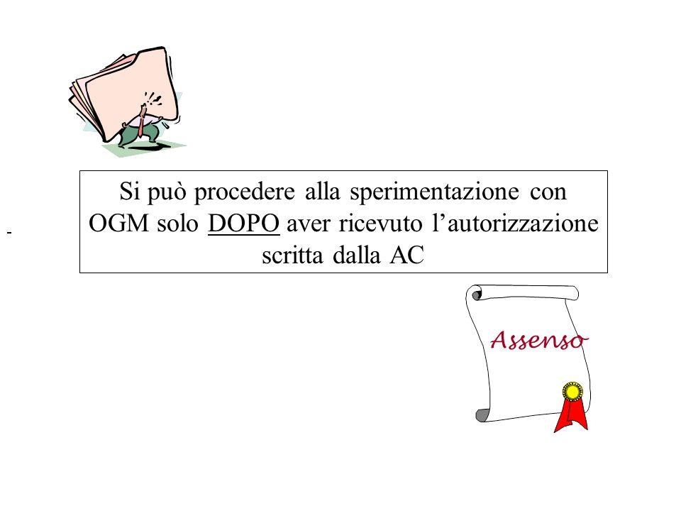 Si può procedere alla sperimentazione con OGM solo DOPO aver ricevuto lautorizzazione scritta dalla AC Assenso