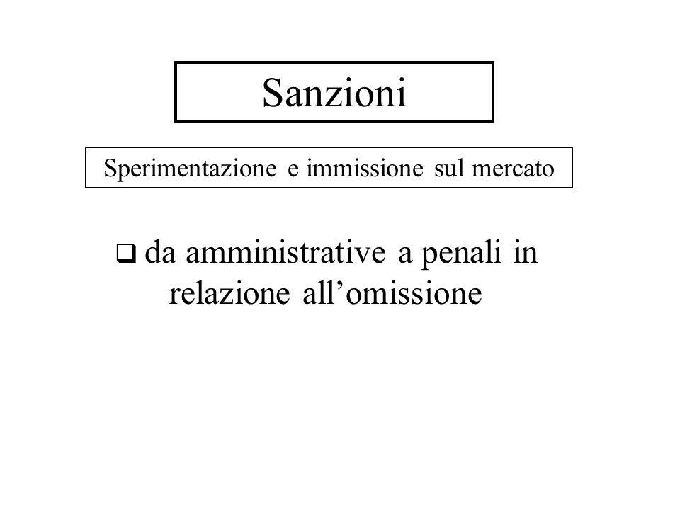 Sanzioni Sperimentazione e immissione sul mercato da amministrative a penali in relazione allomissione