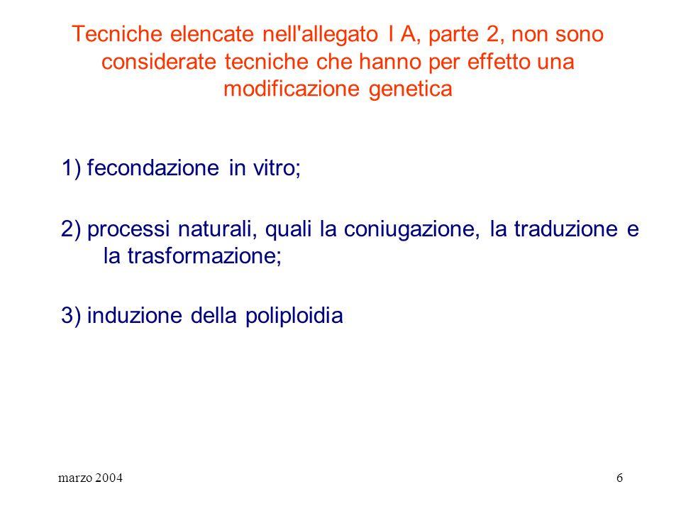 marzo 20046 Tecniche elencate nell'allegato I A, parte 2, non sono considerate tecniche che hanno per effetto una modificazione genetica 1) fecondazio