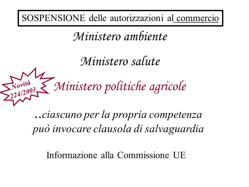 Ministero ambiente Ministero salute Ministero politiche agricole.. ciascuno per la propria competenza può invocare clausola di salvaguardia Informazio