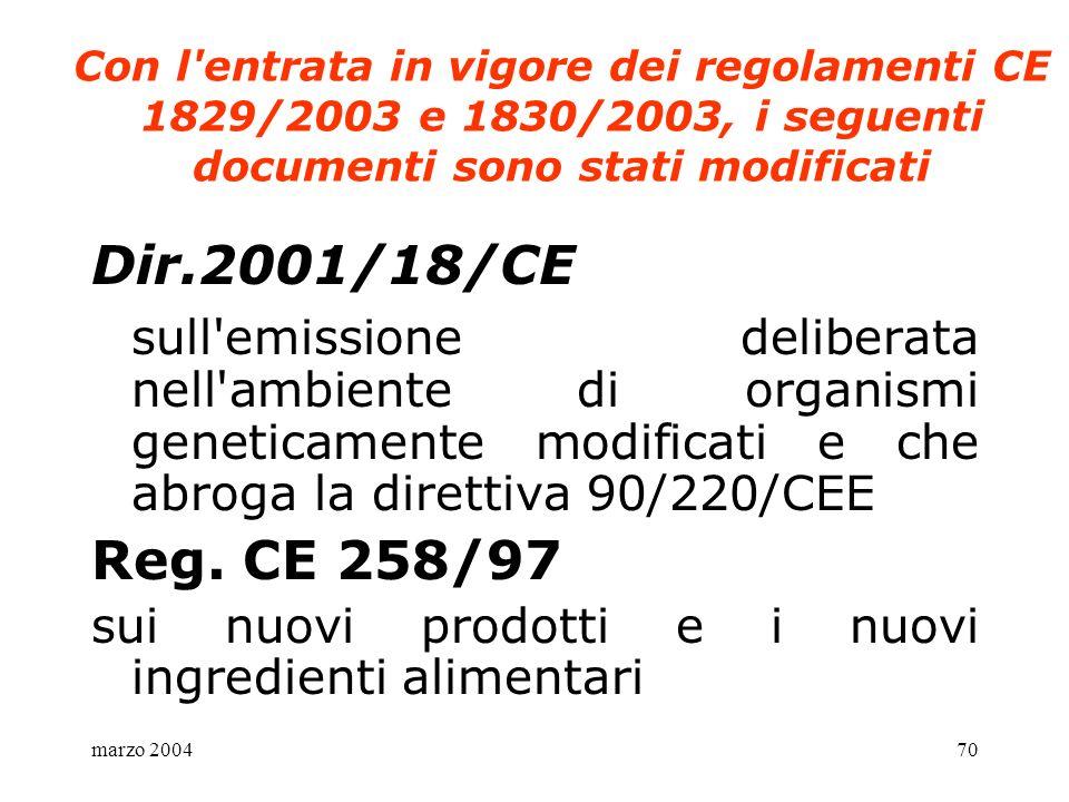 marzo 200470 Con l'entrata in vigore dei regolamenti CE 1829/2003 e 1830/2003, i seguenti documenti sono stati modificati Dir.2001/18/CE sull'emission