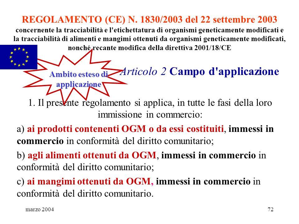 marzo 200472 REGOLAMENTO (CE) N. 1830/2003 del 22 settembre 2003 concernente la tracciabilità e l'etichettatura di organismi geneticamente modificati