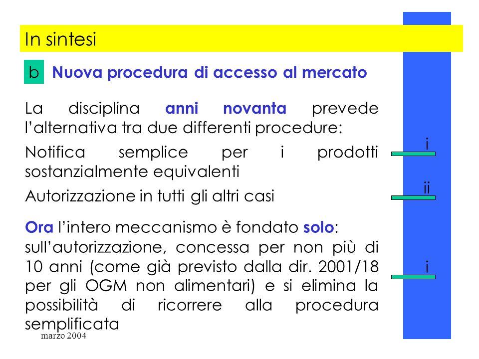 marzo 200476 In sintesi Nuova procedura di accesso al mercato La disciplina anni novanta prevede lalternativa tra due differenti procedure: Notifica s
