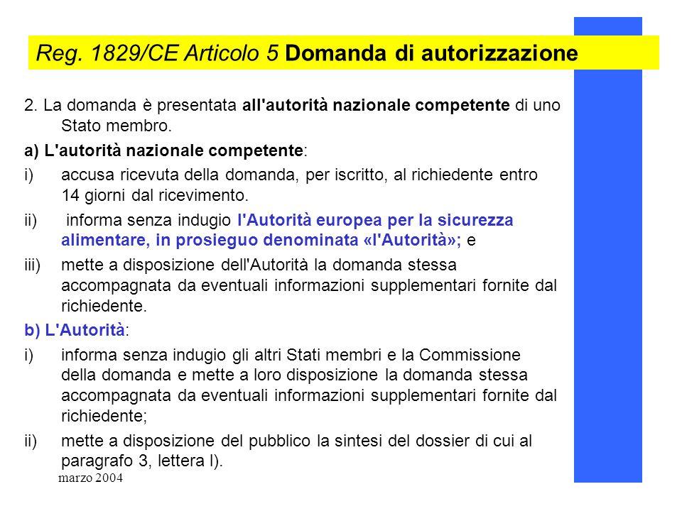 marzo 200478 Reg. 1829/CE Articolo 5 Domanda di autorizzazione 2. La domanda è presentata all'autorità nazionale competente di uno Stato membro. a) L'