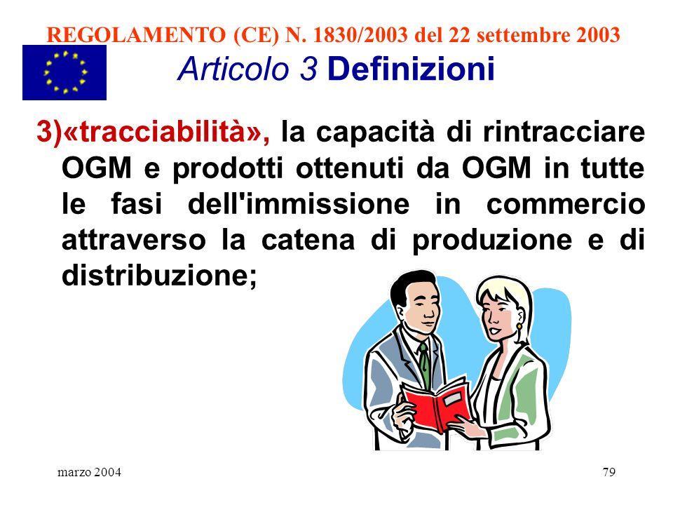marzo 200479 Articolo 3 Definizioni 3)«tracciabilità», la capacità di rintracciare OGM e prodotti ottenuti da OGM in tutte le fasi dell'immissione in