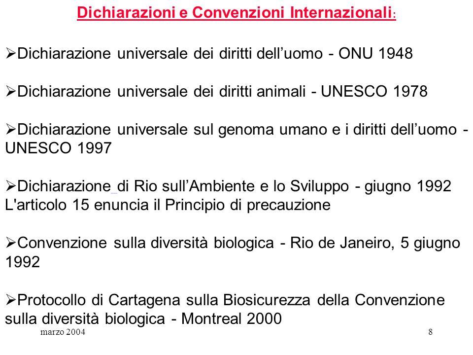 marzo 20048 Dichiarazioni e Convenzioni Internazionali : Dichiarazione universale dei diritti delluomo - ONU 1948 Dichiarazione universale dei diritti