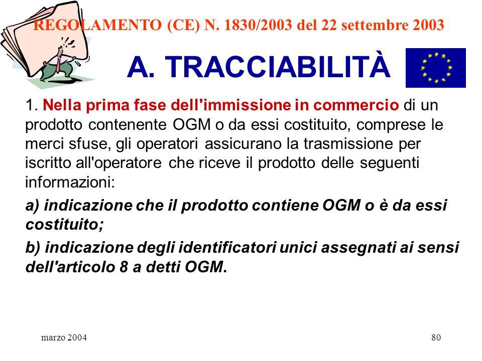 marzo 200480 A. TRACCIABILITÀ 1. Nella prima fase dell'immissione in commercio di un prodotto contenente OGM o da essi costituito, comprese le merci s