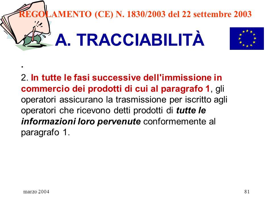 marzo 200481 A. TRACCIABILITÀ. 2. In tutte le fasi successive dell'immissione in commercio dei prodotti di cui al paragrafo 1, gli operatori assicuran