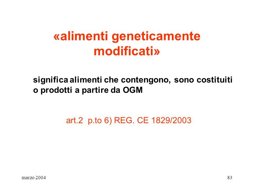 marzo 200483 «alimenti geneticamente modificati» significa alimenti che contengono, sono costituiti o prodotti a partire da OGM art.2 p.to 6) REG. CE
