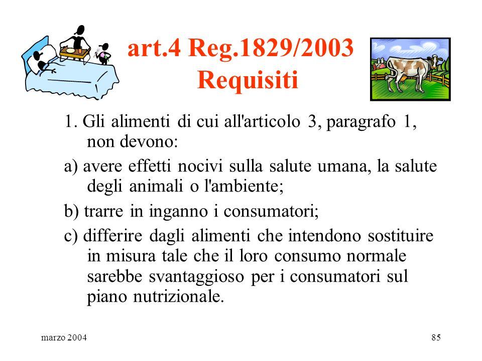 marzo 200485 art.4 Reg.1829/2003 Requisiti 1. Gli alimenti di cui all'articolo 3, paragrafo 1, non devono: a) avere effetti nocivi sulla salute umana,
