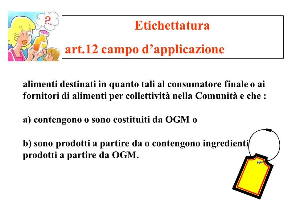 Etichettatura art.12 campo dapplicazione alimenti destinati in quanto tali al consumatore finale o ai fornitori di alimenti per collettività nella Com