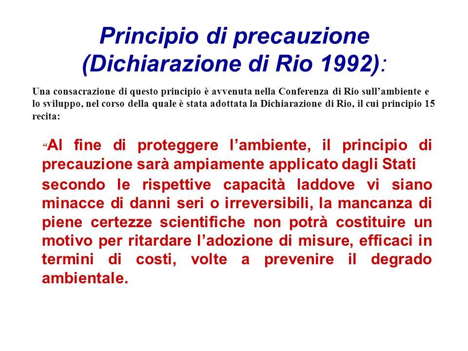 Principio di precauzione (Dichiarazione di Rio 1992): Al fine di proteggere lambiente, il principio di precauzione sarà ampiamente applicato dagli Sta