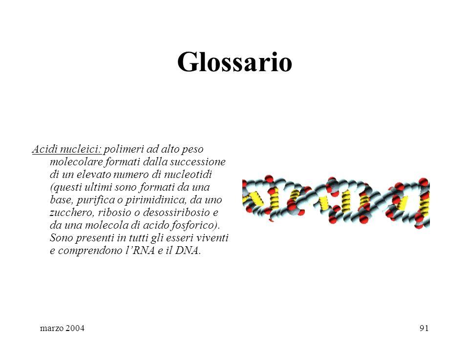 marzo 200491 Glossario Acidi nucleici: polimeri ad alto peso molecolare formati dalla successione di un elevato numero di nucleotidi (questi ultimi so