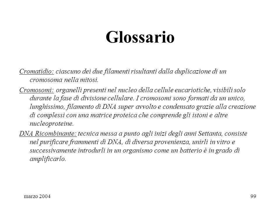 marzo 200499 Glossario Cromatidio: ciascuno dei due filamenti risultanti dalla duplicazione di un cromosoma nella mitosi. Cromosomi: organelli present