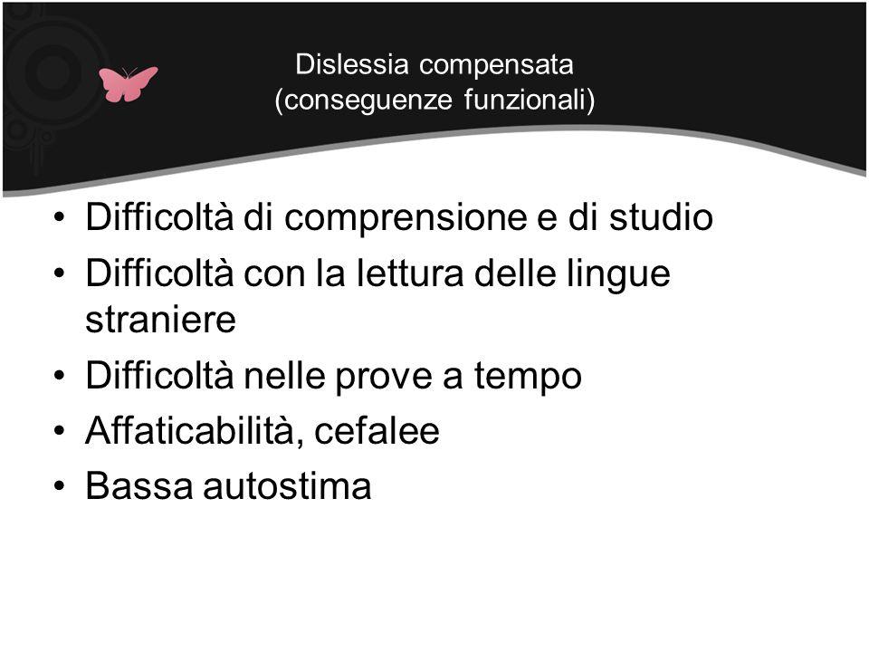 Dislessia compensata (conseguenze funzionali) Difficoltà di comprensione e di studio Difficoltà con la lettura delle lingue straniere Difficoltà nelle
