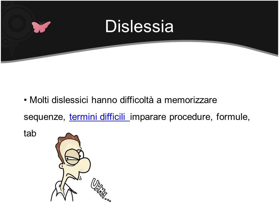Dislessia Molti dislessici hanno difficoltà a memorizzare sequenze, termini difficili imparare procedure, formule, tabelle, …termini difficili