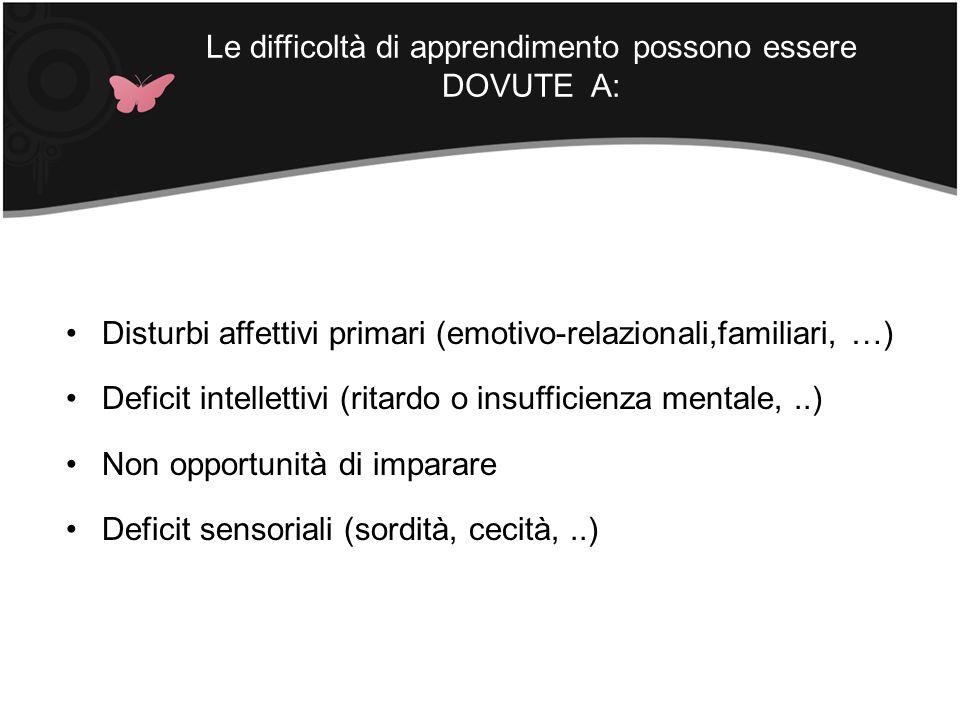 Le difficoltà di apprendimento possono essere DOVUTE A: Disturbi affettivi primari (emotivo-relazionali,familiari, …) Deficit intellettivi (ritardo o