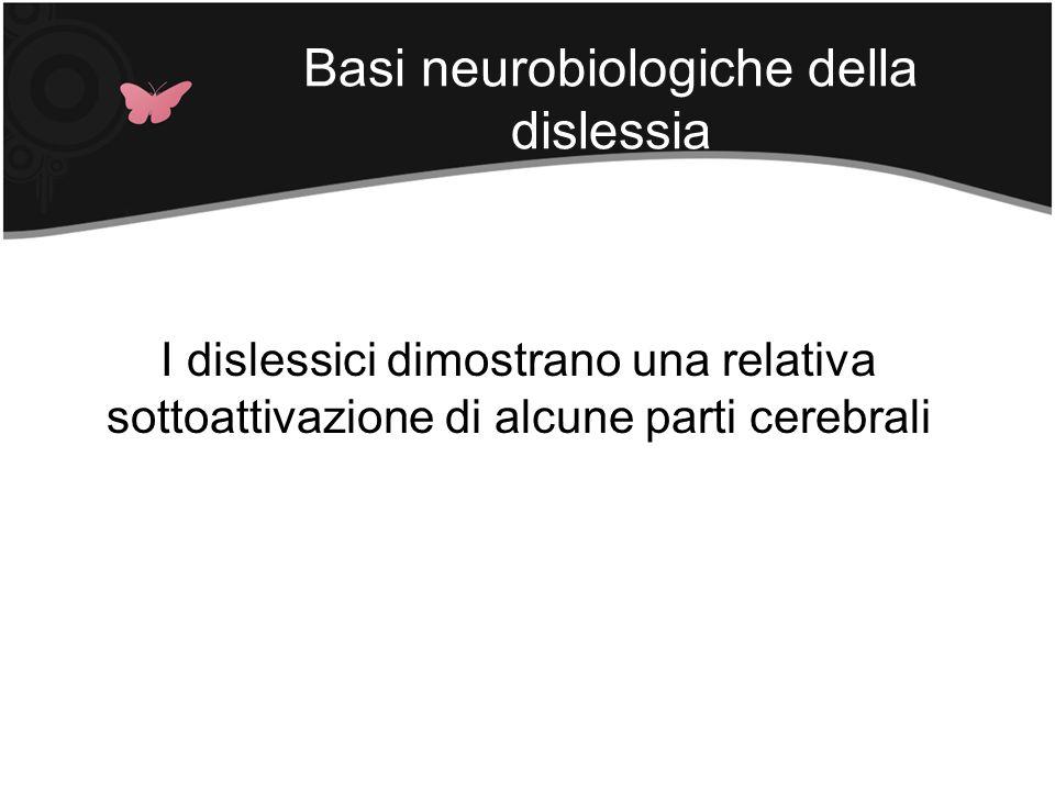 Basi neurobiologiche della dislessia I dislessici dimostrano una relativa sottoattivazione di alcune parti cerebrali