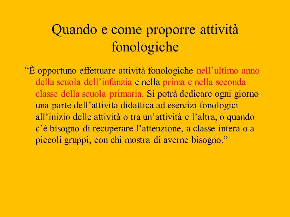 Quando e come proporre attività fonologiche È opportuno effettuare attività fonologiche nellultimo anno della scuola dellinfanzia e nella prima e nell