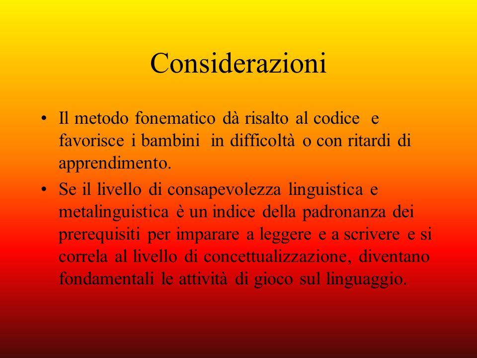 Considerazioni Il metodo fonematico dà risalto al codice e favorisce i bambini in difficoltà o con ritardi di apprendimento. Se il livello di consapev