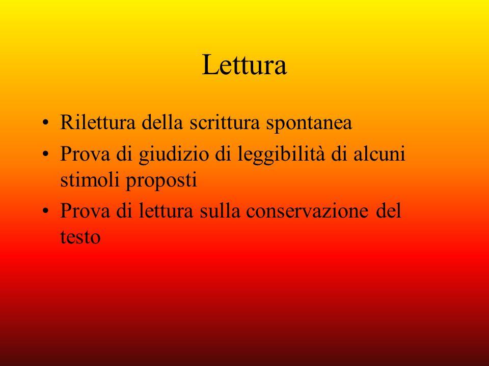 Lettura Rilettura della scrittura spontanea Prova di giudizio di leggibilità di alcuni stimoli proposti Prova di lettura sulla conservazione del testo