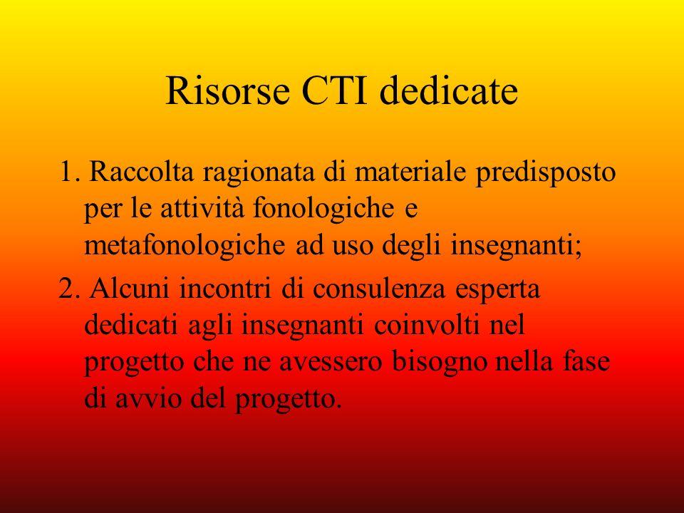 Risorse CTI dedicate 1. Raccolta ragionata di materiale predisposto per le attività fonologiche e metafonologiche ad uso degli insegnanti; 2. Alcuni i