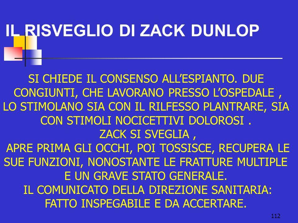 112 IL RISVEGLIO DI ZACK DUNLOP SI CHIEDE IL CONSENSO ALLESPIANTO.