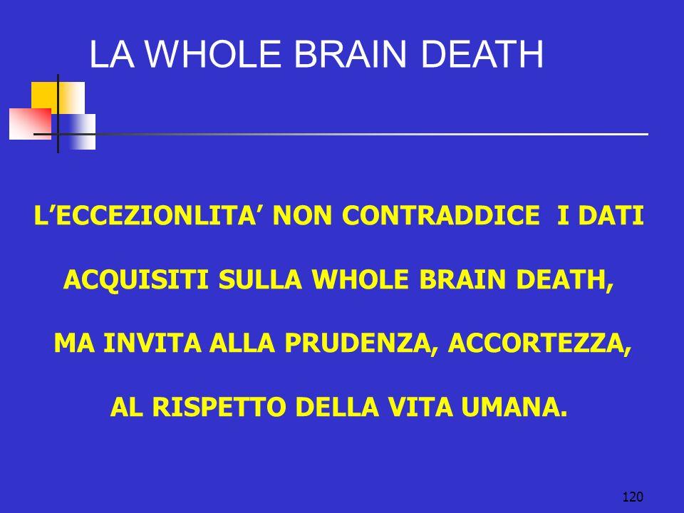 120 LECCEZIONLITA NON CONTRADDICE I DATI ACQUISITI SULLA WHOLE BRAIN DEATH, MA INVITA ALLA PRUDENZA, ACCORTEZZA, AL RISPETTO DELLA VITA UMANA.