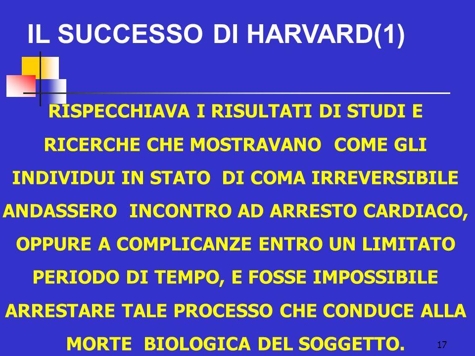 IL SUCCESSO DI HARVARD(1) 17 RISPECCHIAVA I RISULTATI DI STUDI E RICERCHE CHE MOSTRAVANO COME GLI INDIVIDUI IN STATO DI COMA IRREVERSIBILE ANDASSERO INCONTRO AD ARRESTO CARDIACO, OPPURE A COMPLICANZE ENTRO UN LIMITATO PERIODO DI TEMPO, E FOSSE IMPOSSIBILE ARRESTARE TALE PROCESSO CHE CONDUCE ALLA MORTE BIOLOGICA DEL SOGGETTO.
