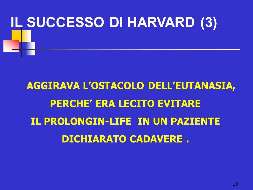 19 IL SUCCESSO DI HARVARD (3) AGGIRAVA LOSTACOLO DELLEUTANASIA, PERCHE ERA LECITO EVITARE IL PROLONGIN-LIFE IN UN PAZIENTE DICHIARATO CADAVERE.