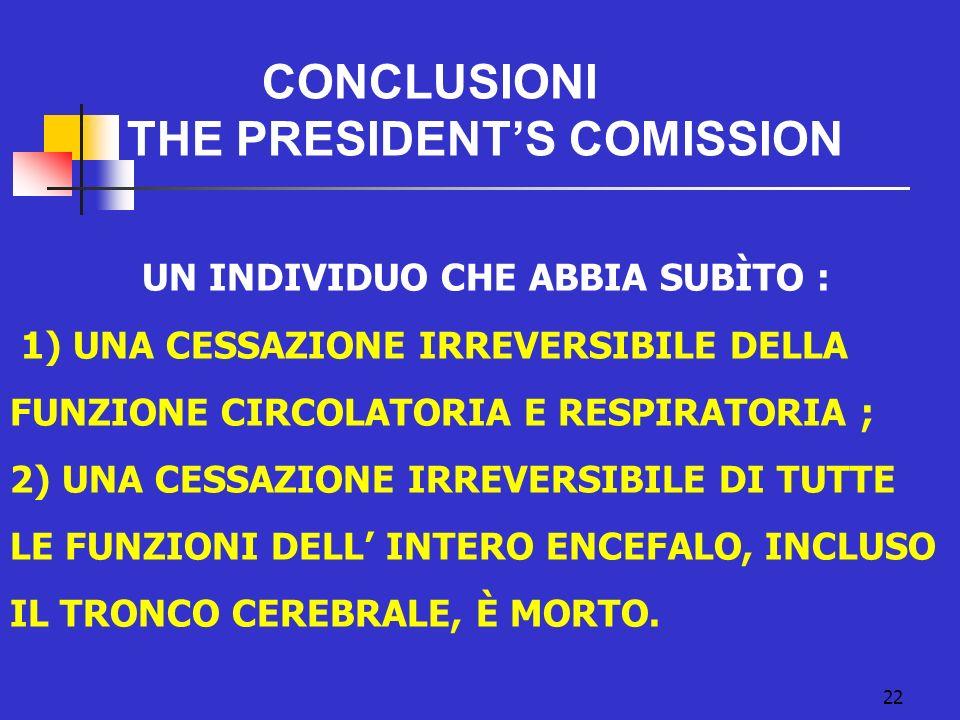 CONCLUSIONI THE PRESIDENTS COMISSION 22 UN INDIVIDUO CHE ABBIA SUBÌTO : 1) UNA CESSAZIONE IRREVERSIBILE DELLA FUNZIONE CIRCOLATORIA E RESPIRATORIA ; 2) UNA CESSAZIONE IRREVERSIBILE DI TUTTE LE FUNZIONI DELL INTERO ENCEFALO, INCLUSO IL TRONCO CEREBRALE, È MORTO.