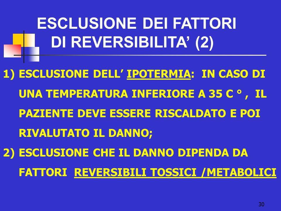 30 1)ESCLUSIONE DELL IPOTERMIA: IN CASO DI UNA TEMPERATURA INFERIORE A 35 C °, IL PAZIENTE DEVE ESSERE RISCALDATO E POI RIVALUTATO IL DANNO; 2)ESCLUSIONE CHE IL DANNO DIPENDA DA FATTORI REVERSIBILI TOSSICI /METABOLICI ESCLUSIONE DEI FATTORI DI REVERSIBILITA (2)