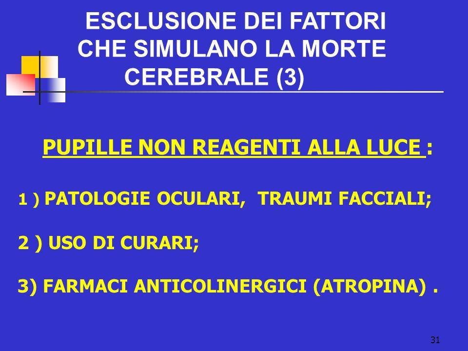 31 PUPILLE NON REAGENTI ALLA LUCE : 1 ) PATOLOGIE OCULARI, TRAUMI FACCIALI; 2 ) USO DI CURARI; 3) FARMACI ANTICOLINERGICI (ATROPINA).
