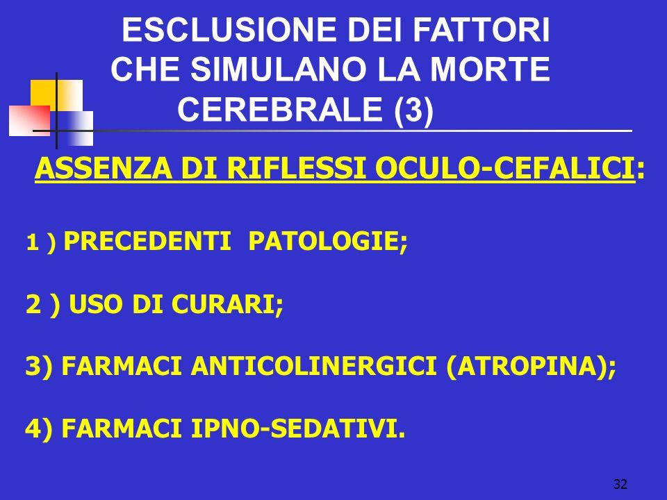 32 ESCLUSIONE DEI FATTORI CHE SIMULANO LA MORTE CEREBRALE (3) ASSENZA DI RIFLESSI OCULO-CEFALICI: 1 ) PRECEDENTI PATOLOGIE; 2 ) USO DI CURARI; 3) FARMACI ANTICOLINERGICI (ATROPINA); 4) FARMACI IPNO-SEDATIVI.
