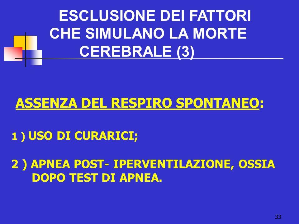 33 ESCLUSIONE DEI FATTORI CHE SIMULANO LA MORTE CEREBRALE (3) ASSENZA DEL RESPIRO SPONTANEO: 1 ) USO DI CURARICI; 2 ) APNEA POST- IPERVENTILAZIONE, OSSIA DOPO TEST DI APNEA.