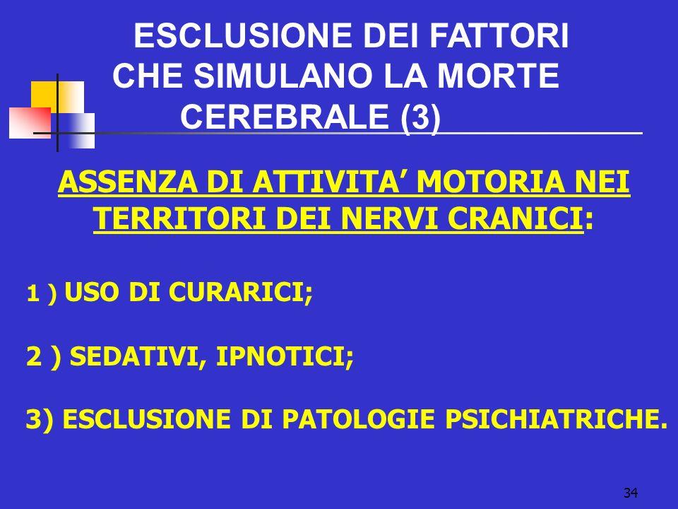 34 ESCLUSIONE DEI FATTORI CHE SIMULANO LA MORTE CEREBRALE (3) ASSENZA DI ATTIVITA MOTORIA NEI TERRITORI DEI NERVI CRANICI: 1 ) USO DI CURARICI; 2 ) SEDATIVI, IPNOTICI; 3) ESCLUSIONE DI PATOLOGIE PSICHIATRICHE.